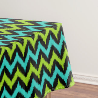 Black, Turquoise and Green Zigzag Ikat Pattern Tablecloth
