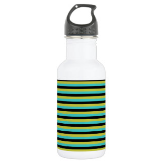 Black, Turquoise and Yellow Stripes. 532 Ml Water Bottle