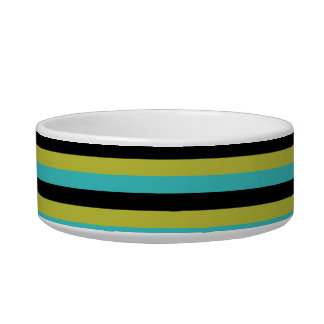 Black, Turquoise and Yellow Stripes. Bowl
