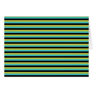 Black, Turquoise and Yellow Stripes. Card