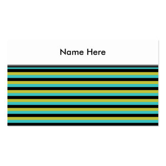 Black, Turquoise and Yellow Stripes. Pack Of Standard Business Cards
