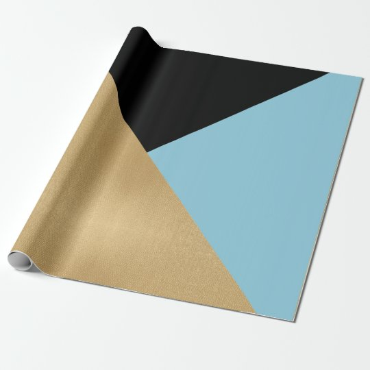 Black Turquoise Blue Black Gold Pastel Geometry Wrapping Paper