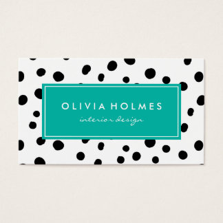 Black & Turquoise Dot Spot Pattern Business Card
