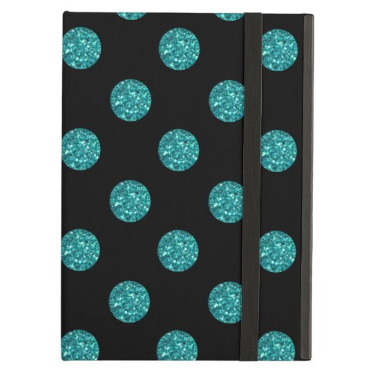 Black turquoise glitter polka dots iPad air cases