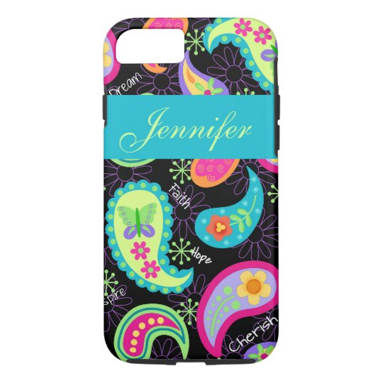 Black Turquoise Modern Paisley Name Personalised iPhone 8/7 Case