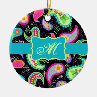Black Turquoise Modern Paisley Pattern Monogram Christmas Ornament