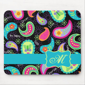 Black Turquoise Modern Paisley Pattern Monogram Mouse Pad