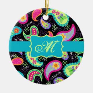 Black Turquoise Modern Paisley Pattern Monogram Round Ceramic Decoration
