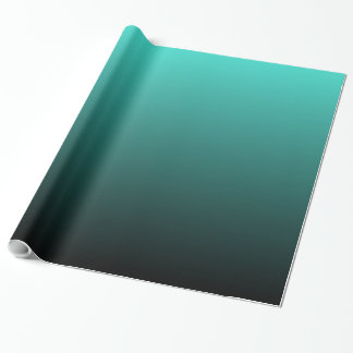 Black Turquoise Ombre Wrapping Paper