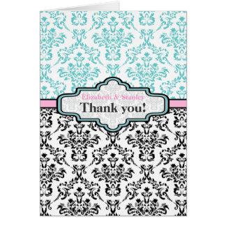 Black turquoise pink damask wedding Thank You Card