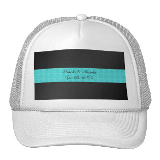 Black turquoise roses wedding favors mesh hats