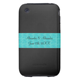 Black turquoise roses wedding favors tough iPhone 3 cases
