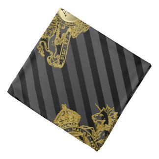 Black Tux Gold Lion Monogram Emblem Lapel Pocket Bandana
