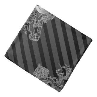 Black Tux Silver Lion Emblem Monogram Lapel Pocket Bandana