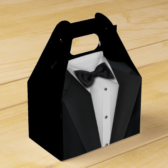 Black Tuxedo and Wedding Dress Favour Box