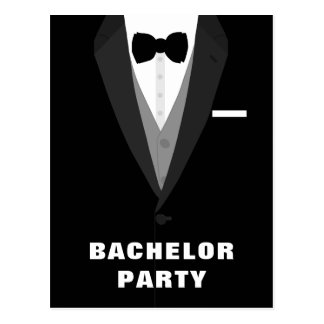 Black Tuxedo Bachelor Party Invitation Postcard