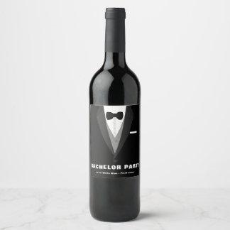 Black Tuxedo Bachelor Party Wine Label