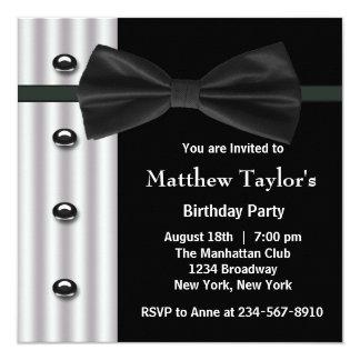 Black Tuxedo Bow Tie Mens Birthday Party 13 Cm X 13 Cm Square Invitation Card