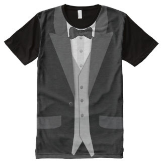 Black Tuxedo Bowtie and Vest All-Over Print T-Shirt