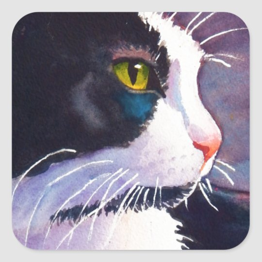 Black Tuxedo Cat in Stormy Mood Square Sticker