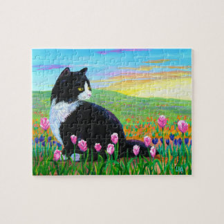 Black Tuxedo Cat Tulips Art Creationarts Jigsaw Puzzle