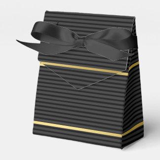 Black Tuxedo Charcoal Grey Baby Stripe Gold Favour Box
