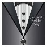 Black Tuxedo Mans 40th Birthday Party Invitation