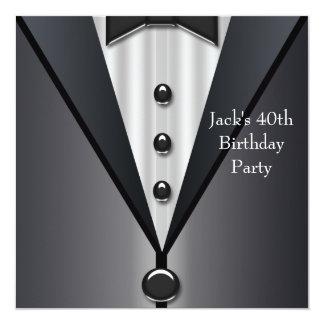 "Black Tuxedo Mans 40th Birthday Party 5.25"" Square Invitation Card"
