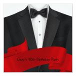 Black Tuxedo Mans Black Red 40th Birthday Party