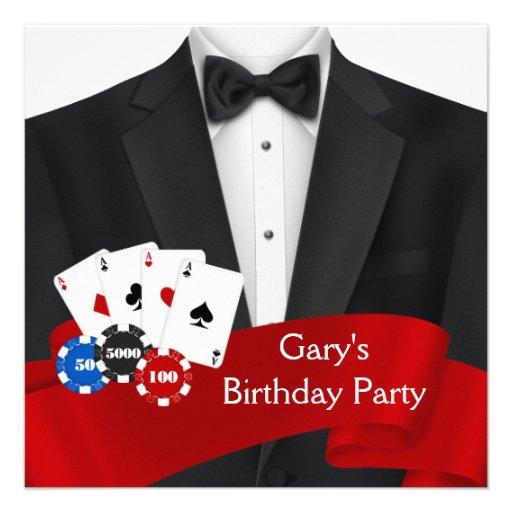 Black Tuxedo Mans Poker Birthday Party Announcement