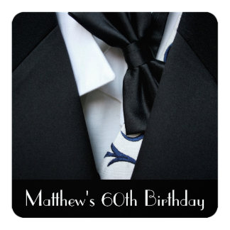 "Black Tuxedo Men's 60th Birthday Party Invitation 5.25"" Square Invitation Card"