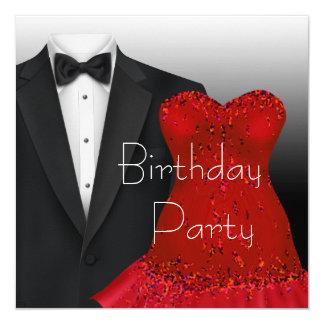 Black Tuxedo Red Dress Birthday Party Personalized Invitation