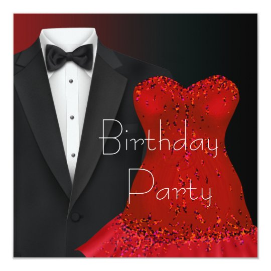 Black Tuxedo Red Dress Party Invitation Template