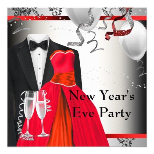 Black Tuxedo Red Dress Party Invitation Template