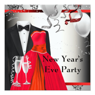 """Black Tuxedo Red Dress Party Invitation Template 5.25"""" Square Invitation Card"""