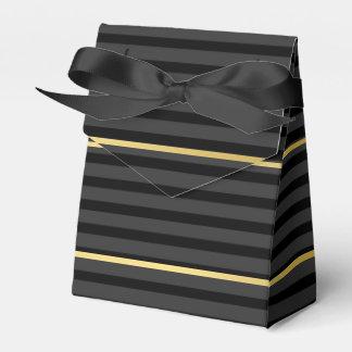 Black Tuxedo Stripe Charcoal Grey Formal Favour Box