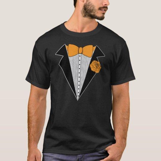 Black Tuxedo style with Orange Bowtie & Rose T-Shirt