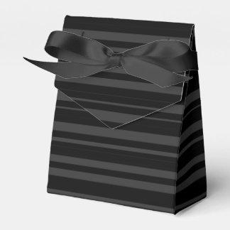 Black Tuxedo Velvet Multi Stripe Charcoal Grey Favour Box