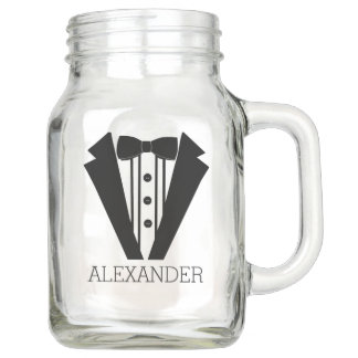 Black Tuxedo Wedding - Grooms Personalized Mason Jar