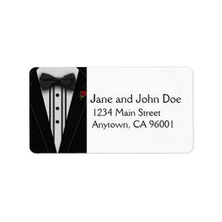 Black Tuxedo with Bow Tie Address Label