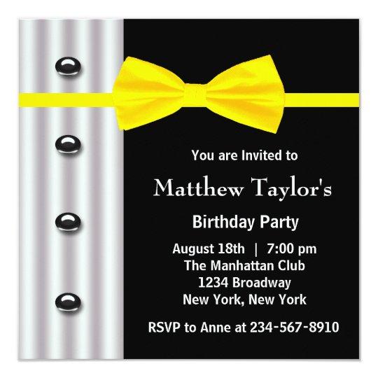 Black Tuxedo Yellow Bow Tie Mens Birthday Party