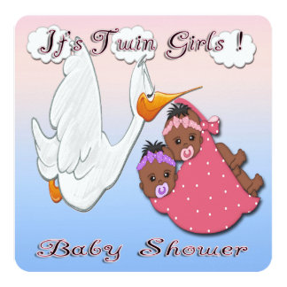 black twin girls baby shower invitation