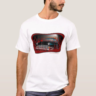 Black Two Tone 54 Chevy Hot Rod in Flames T-Shirt