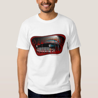 Black Two Tone 54 Chevy Hot Rod in Flames Tshirts