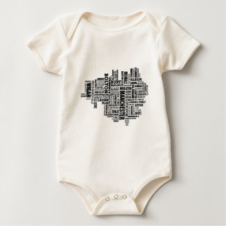 Black type map of Greater Manchester Baby Bodysuit