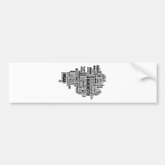 Black type map of Greater Manchester Bumper Sticker