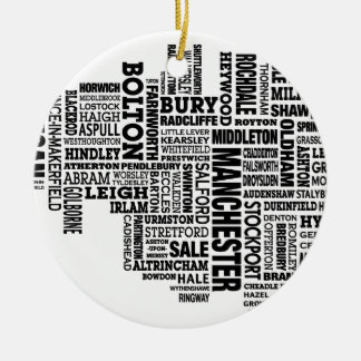 Black type map of Greater Manchester Christmas Ornament