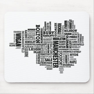 Black type map of Greater Manchester Mouse Mat