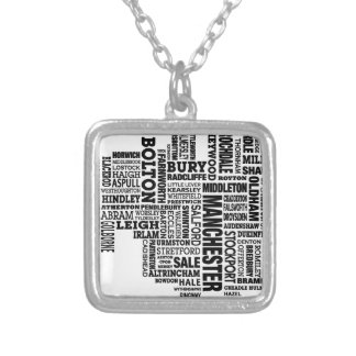 Black type map of Greater Manchester Silver Plated Necklace