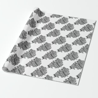Black type map of Greater Manchester Wrapping Paper